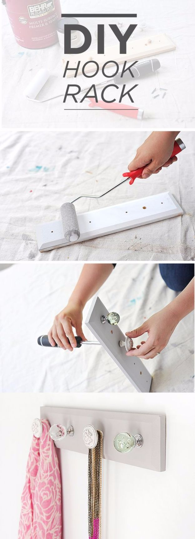 Best DIY Room Decor Ideas for Teens and Teenagers - DIY Hook Rack - Best Cool Crafts, Bedroom Accessories, Lighting, Wall Art, Creative Arts and Crafts Projects, Rugs, Pillows, Curtains, Lamps and Lights - Easy and Cheap Do It Yourself Ideas for Teen Bedrooms and Play Rooms http://diyprojectsforteens.com/diy-room-decor-ideas-teens