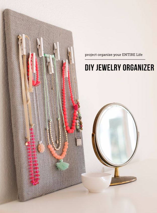 DIY Jewelry Storage - DIY Jewelry Organization Board - Do It Yourself Crafts and Projects for Organizing, Storing and Displaying Jewelry - Earrings, Rings, Necklaces - Jewelry Tree, Boxes, Hangers - Cheap and Easy Ways To Organize Jewelry in Bedroom and Bathroom - Dollar Store Crafts and Cheap Ideas for Decorating