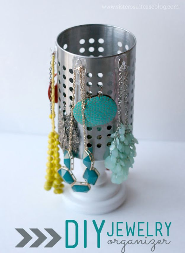 DIY Jewelry Storage - DIY Jewelry Organizer With IKEA Utensil Holder - Do It Yourself Crafts and Projects for Organizing, Storing and Displaying Jewelry - Earrings, Rings, Necklaces - Jewelry Tree, Boxes, Hangers - Cheap and Easy Ways To Organize Jewelry in Bedroom and Bathroom - Dollar Store Crafts and Cheap Ideas for Decorating http://diyprojectsforteens.com/diy-jewelry-storage