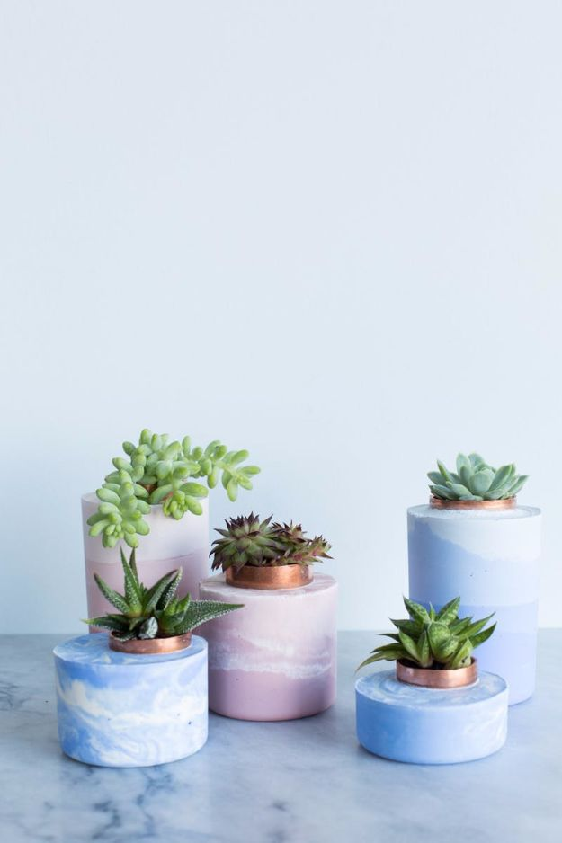 Easy Crafts for Teens - DIY Marbled And Ombre Concrete Planters - Cheap and Easy DIY Projects for Teenagers - Learn Basic Craft Techniques and Tutorials for Learning The Basics for Do It Yourself Projects and Fun Crafts - Easy Step by Step Tutorials for Making Pom Poms, Using a Glue Gun, Painting How To and More - Cool Ideas for Teens, Teenagers and Adults - Cheap Arts and Crafts Ideas and Tips