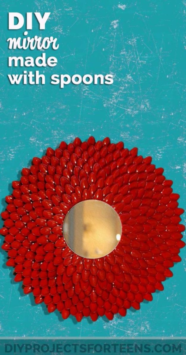 Easy Crafts for Teens - DIY Mirror Made With Plastic Spoons - Cheap and Easy DIY Projects for Teenagers - Learn Basic Craft Techniques and Tutorials for Learning The Basics for Do It Yourself Projects and Fun Crafts - Easy Step by Step Tutorials for Making Pom Poms, Using a Glue Gun, Painting How To and More - Cool Ideas for Teens, Teenagers and Adults - Cheap Arts and Crafts Ideas and Tips
