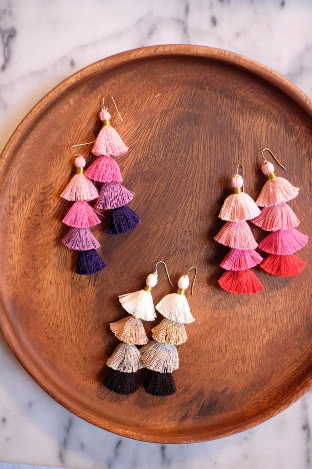 Easy Crafts for Teens - DIY Multicolor Tassel Earrings - Cheap and Easy DIY Projects for Teenagers - Learn Basic Craft Techniques and Tutorials for Learning The Basics for Do It Yourself Projects and Fun Crafts - Easy Step by Step Tutorials for Making Pom Poms, Using a Glue Gun, Painting How To and More - Cool Ideas for Teens, Teenagers and Adults - Cheap Arts and Crafts Ideas and Tips http://diyprojectsforteens.com/diy-skills-tutorials