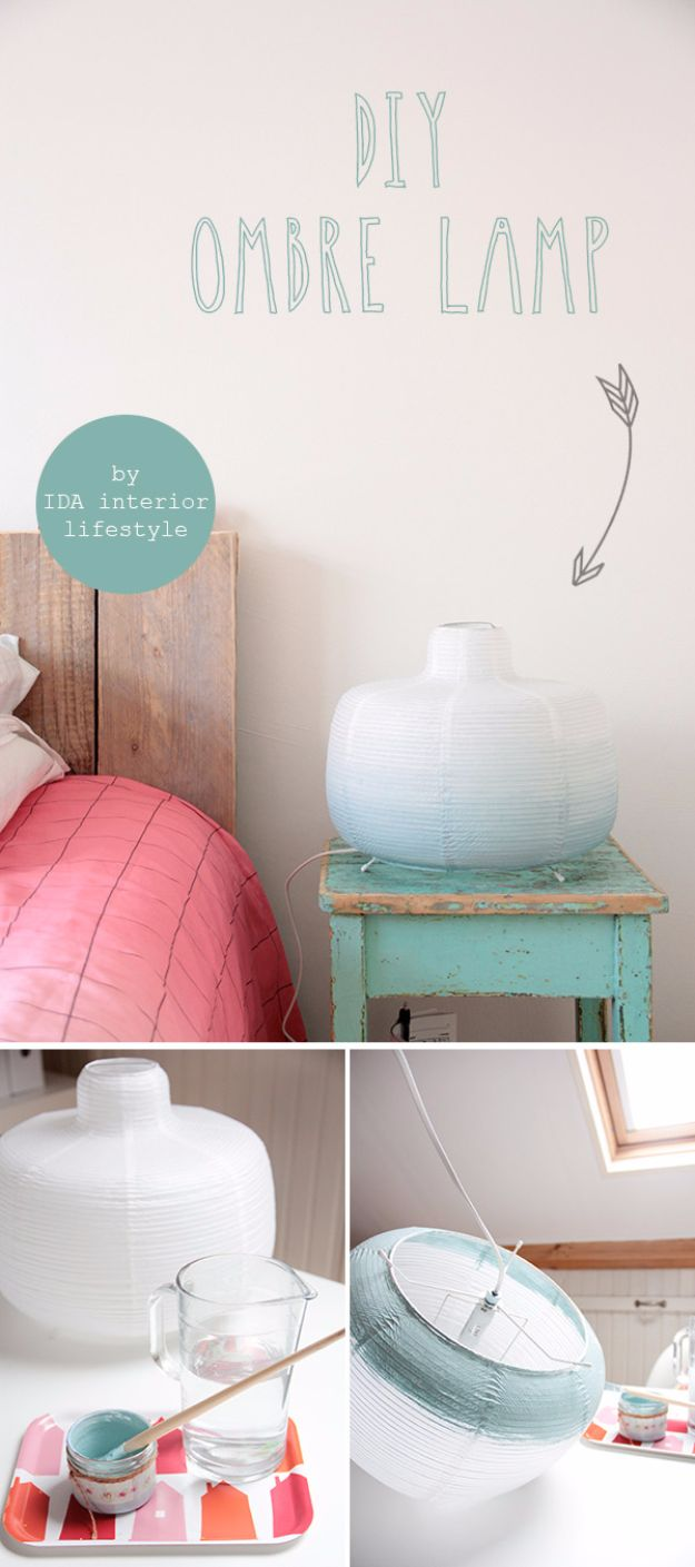 Best DIY Room Decor Ideas for Teens and Teenagers - DIY Ombre Lamp - Best Cool Crafts, Bedroom Accessories, Lighting, Wall Art, Creative Arts and Crafts Projects, Rugs, Pillows, Curtains, Lamps and Lights - Easy and Cheap Do It Yourself Ideas for Teen Bedrooms and Play Rooms http://diyprojectsforteens.com/diy-room-decor-ideas-teens