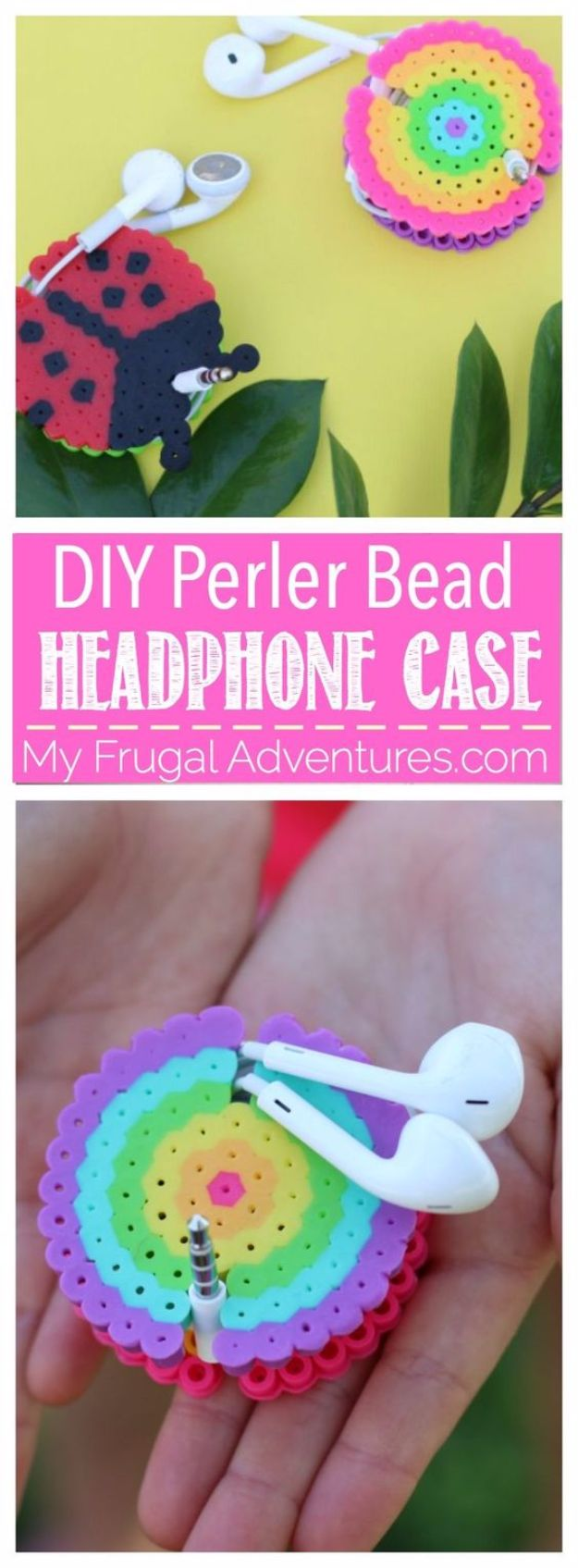 Best DIY Ideas for Teens To Make This Summer - DIY Perler Bead Headphone Case - Fun and Easy Crafts, Room Decor, Toys and Craft Projects to Make And Sell - Cool Gifts for Friends, Awesome Things To Do When You Are Bored - Teenagers - Boys and Girls Love Making These Creative Projects With Step by Step Tutorials and Instructions #diyideas #summer #teencrafts #crafts