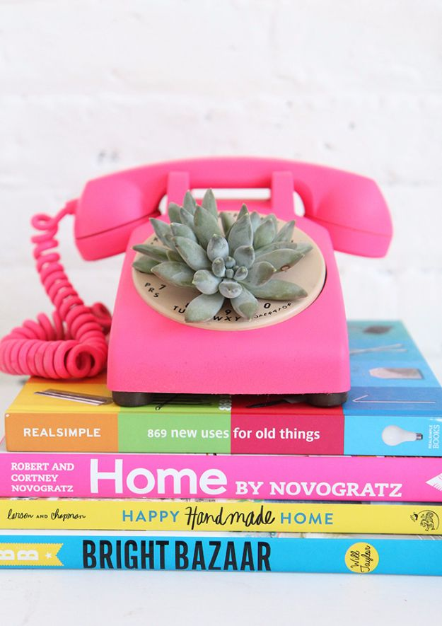 Best DIY Room Decor Ideas for Teens and Teenagers - DIY Rotary Phone Succulent Planter - Best Cool Crafts, Bedroom Accessories, Lighting, Wall Art, Creative Arts and Crafts Projects, Rugs, Pillows, Curtains, Lamps and Lights - Easy and Cheap Do It Yourself Ideas for Teen Bedrooms and Play Rooms #teencrafts #diydecor #roomideas #teenrooms #teendecor #diyideas