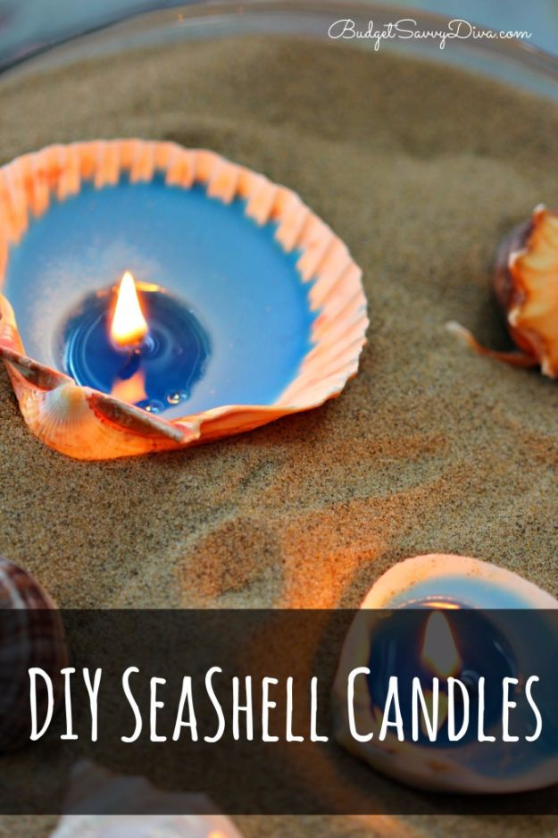 Best DIY Ideas for Teens To Make This Summer - DIY Seashell Candles - Fun and Easy Crafts, Room Decor, Toys and Craft Projects to Make And Sell - Cool Gifts for Friends, Awesome Things To Do When You Are Bored - Teenagers - Boys and Girls Love Making These Creative Projects With Step by Step Tutorials and Instructions http://diyprojectsforteens.com/best-ideas-teens-summer