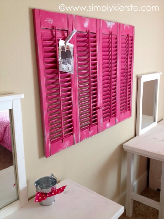 Best DIY Room Decor Ideas for Teens and Teenagers - DIY Shutters Clipboard - Best Cool Crafts, Bedroom Accessories, Lighting, Wall Art, Creative Arts and Crafts Projects, Rugs, Pillows, Curtains, Lamps and Lights - Easy and Cheap Do It Yourself Ideas for Teen Bedrooms and Play Rooms #teencrafts #diydecor #roomideas #teenrooms #teendecor #diyideas