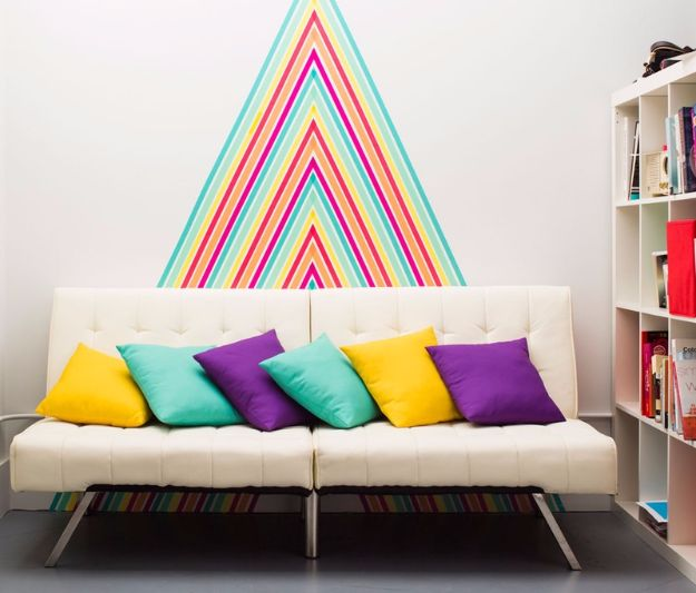 Best DIY Room Decor Ideas for Teens and Teenagers - DIY Temporary Wallpaper Using Washi Tape - Best Cool Crafts, Bedroom Accessories, Lighting, Wall Art, Creative Arts and Crafts Projects, Rugs, Pillows, Curtains, Lamps and Lights - Easy and Cheap Do It Yourself Ideas for Teen Bedrooms and Play Rooms #teencrafts #diydecor #roomideas #teenrooms #teendecor #diyideas