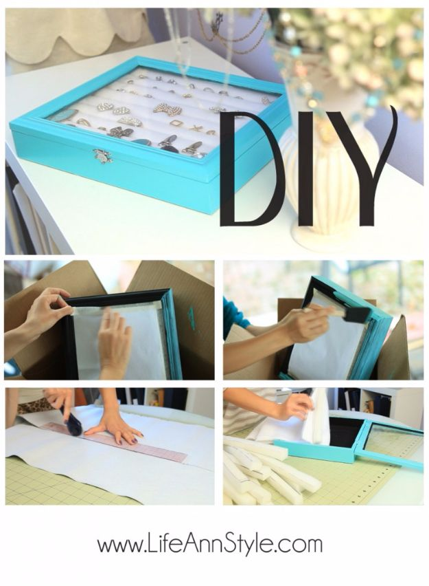 DIY Jewelry Storage - DIY Tiffany Co Inspired Jewelry Box - Do It Yourself Crafts and Projects for Organizing, Storing and Displaying Jewelry - Earrings, Rings, Necklaces - Jewelry Tree, Boxes, Hangers - Cheap and Easy Ways To Organize Jewelry in Bedroom and Bathroom - Dollar Store Crafts and Cheap Ideas for Decorating