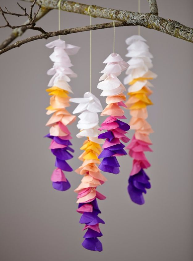 Best DIY Room Decor Ideas for Teens and Teenagers - DIY Tissue Wisteria - Best Cool Crafts, Bedroom Accessories, Lighting, Wall Art, Creative Arts and Crafts Projects, Rugs, Pillows, Curtains, Lamps and Lights - Easy and Cheap Do It Yourself Ideas for Teen Bedrooms and Play Rooms #teencrafts #diydecor #roomideas #teenrooms #teendecor #diyideas