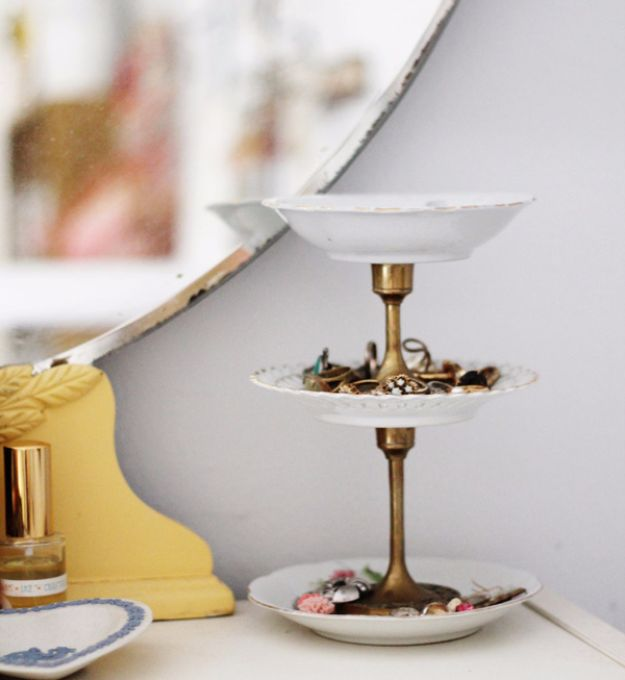 DIY Jewelry Storage - DIY Vintage Jewelry Stand - Do It Yourself Crafts and Projects for Organizing, Storing and Displaying Jewelry - Earrings, Rings, Necklaces - Jewelry Tree, Boxes, Hangers - Cheap and Easy Ways To Organize Jewelry in Bedroom and Bathroom - Dollar Store Crafts and Cheap Ideas for Decorating