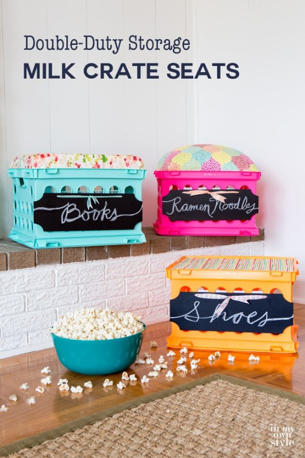 Best DIY Room Decor Ideas for Teens and Teenagers - Double Duty Milk Crate Seats - Best Cool Crafts, Bedroom Accessories, Lighting, Wall Art, Creative Arts and Crafts Projects, Rugs, Pillows, Curtains, Lamps and Lights - Easy and Cheap Do It Yourself Ideas for Teen Bedrooms and Play Rooms http://diyprojectsforteens.com/diy-room-decor-ideas-teens