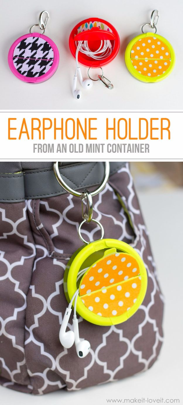 Best DIY Ideas for Teens To Make This Summer - Earphone Holder From Mint Container - Fun and Easy Crafts, Room Decor, Toys and Craft Projects to Make And Sell - Cool Gifts for Friends, Awesome Things To Do When You Are Bored - Teenagers - Boys and Girls Love Making These Creative Projects With Step by Step Tutorials and Instructions #diyideas #summer #teencrafts #crafts