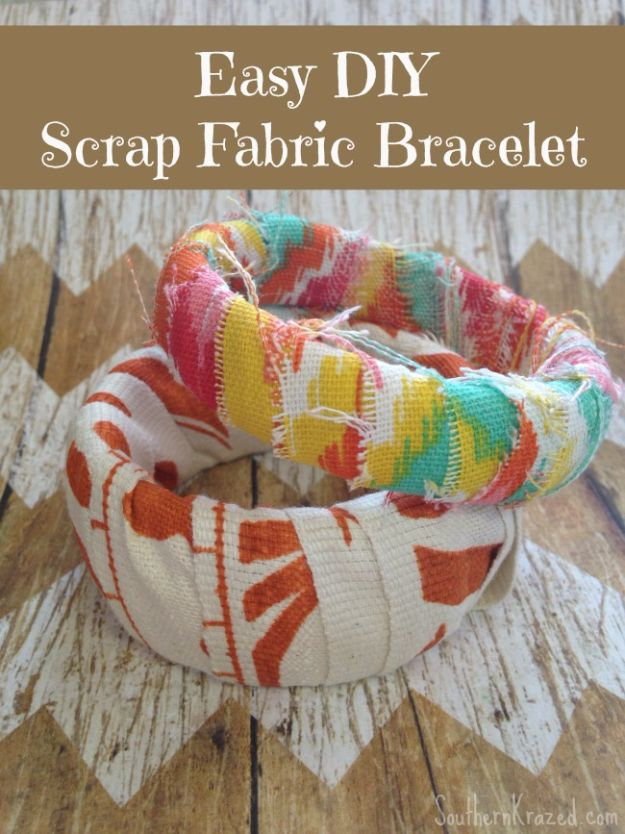 Best DIY Ideas for Teens To Make This Summer - Easy Scrap Fabric Bracelet - Fun and Easy Crafts, Room Decor, Toys and Craft Projects to Make And Sell - Cool Gifts for Friends, Awesome Things To Do When You Are Bored - Teenagers - Boys and Girls Love Making These Creative Projects With Step by Step Tutorials and Instructions #diyideas #summer #teencrafts #crafts