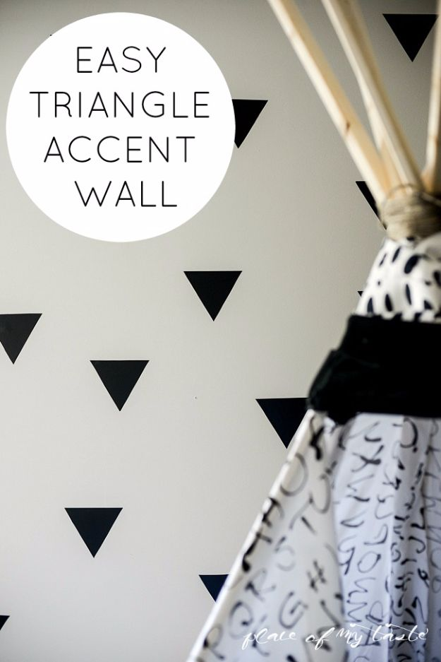 Easy Crafts for Teens - Easy Triangle Accent Wall - Cheap and Easy DIY Projects for Teenagers - Learn Basic Craft Techniques and Tutorials for Learning The Basics for Do It Yourself Projects and Fun Crafts - Easy Step by Step Tutorials for Making Pom Poms, Using a Glue Gun, Painting How To and More - Cool Ideas for Teens, Teenagers and Adults - Cheap Arts and Crafts Ideas and Tips http://diyprojectsforteens.com/diy-skills-tutorials