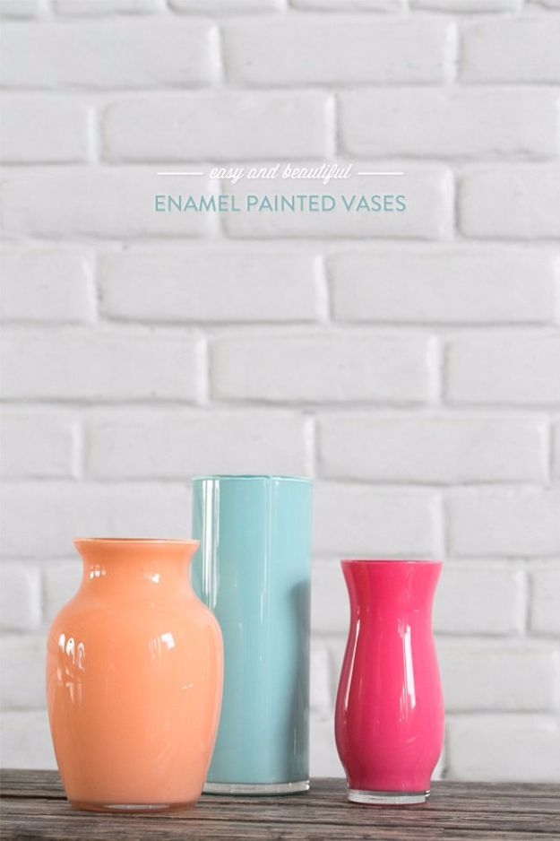 Best DIY Room Decor Ideas for Teens and Teenagers - Enamel Painted Vases - Best Cool Crafts, Bedroom Accessories, Lighting, Wall Art, Creative Arts and Crafts Projects, Rugs, Pillows, Curtains, Lamps and Lights - Easy and Cheap Do It Yourself Ideas for Teen Bedrooms and Play Rooms #teencrafts #diydecor #roomideas #teenrooms #teendecor #diyideas