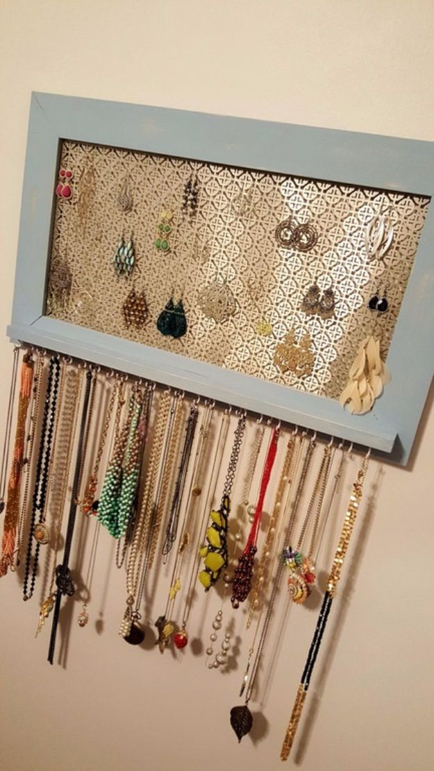 DIY Jewelry Storage - Framed Organizer - Do It Yourself Crafts and Projects for Organizing, Storing and Displaying Jewelry - Earrings, Rings, Necklaces - Jewelry Tree, Boxes, Hangers - Cheap and Easy Ways To Organize Jewelry in Bedroom and Bathroom - Dollar Store Crafts and Cheap Ideas for Decorating