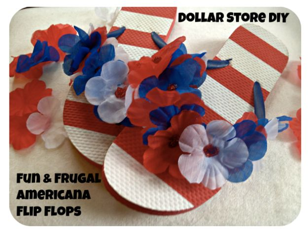 Best DIY Ideas for Teens To Make This Summer - Fun and Frugal Americana Flip Flops - Fun and Easy Crafts, Room Decor, Toys and Craft Projects to Make And Sell - Cool Gifts for Friends, Awesome Things To Do When You Are Bored - Teenagers - Boys and Girls Love Making These Creative Projects With Step by Step Tutorials and Instructions #diyideas #summer #teencrafts #crafts