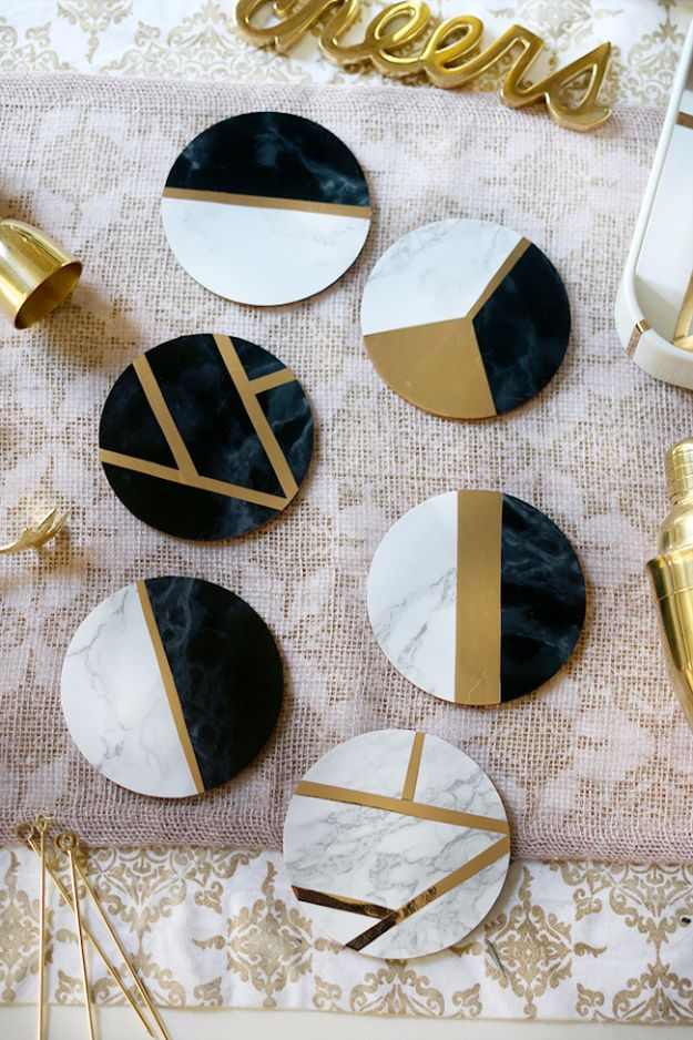 Easy Crafts for Teens - Glam Marble & Gold DIY Coasters - Cheap and Easy DIY Projects for Teenagers - Learn Basic Craft Techniques and Tutorials for Learning The Basics for Do It Yourself Projects and Fun Crafts - Easy Step by Step Tutorials for Making Pom Poms, Using a Glue Gun, Painting How To and More - Cool Ideas for Teens, Teenagers and Adults - Cheap Arts and Crafts Ideas and Tips