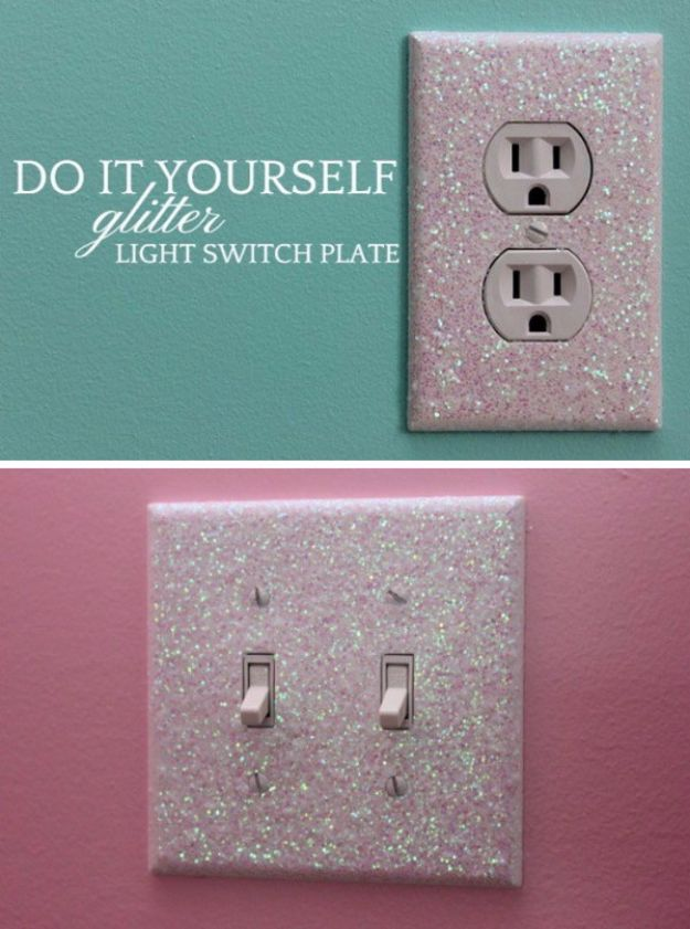 Best DIY Room Decor Ideas for Teens and Teenagers - Glitter Light Switch Plates - Best Cool Crafts, Bedroom Accessories, Lighting, Wall Art, Creative Arts and Crafts Projects, Rugs, Pillows, Curtains, Lamps and Lights - Easy and Cheap Do It Yourself Ideas for Teen Bedrooms and Play Rooms #teencrafts #diydecor #roomideas #teenrooms #teendecor #diyideas