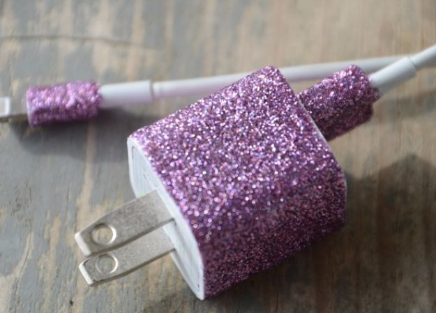 Easy Crafts for Teens - Glitterized Phone Charger - Cheap and Easy DIY Projects for Teenagers - Learn Basic Craft Techniques and Tutorials for Learning The Basics for Do It Yourself Projects and Fun Crafts - Easy Step by Step Tutorials for Making Pom Poms, Using a Glue Gun, Painting How To and More - Cool Ideas for Teens, Teenagers and Adults - Cheap Arts and Crafts Ideas and Tips
