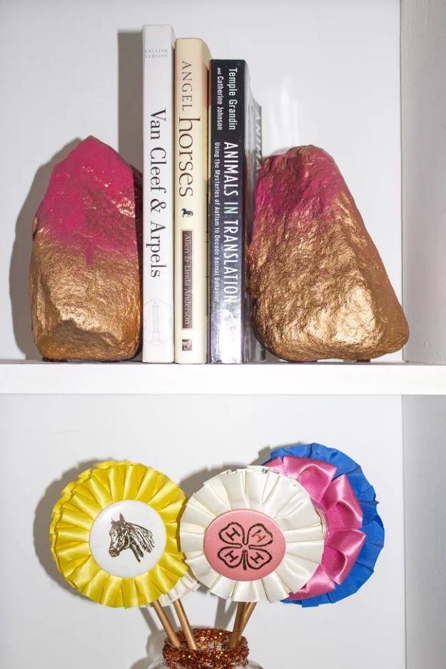 Best DIY Ideas for Teens To Make This Summer - Gold & Pink Rock Bookends - Fun and Easy Crafts, Room Decor, Toys and Craft Projects to Make And Sell - Cool Gifts for Friends, Awesome Things To Do When You Are Bored - Teenagers - Boys and Girls Love Making These Creative Projects With Step by Step Tutorials and Instructions #diyideas #summer #teencrafts #crafts