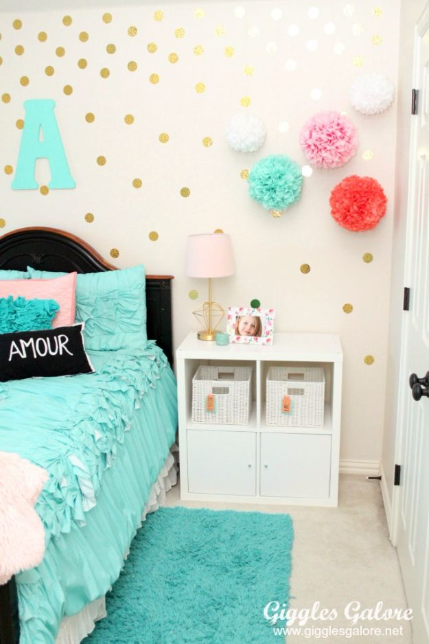 Best DIY Room Decor Ideas for Teens and Teenagers - Gold Polka Dot Wall - Best Cool Crafts, Bedroom Accessories, Lighting, Wall Art, Creative Arts and Crafts Projects, Rugs, Pillows, Curtains, Lamps and Lights - Easy and Cheap Do It Yourself Ideas for Teen Bedrooms and Play Rooms #teencrafts #diydecor #roomideas #teenrooms #teendecor #diyideas