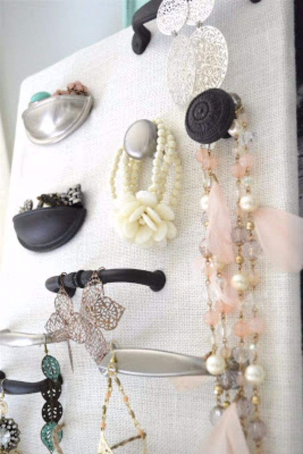 DIY Jewelry Storage - Hardware Jewelry Organizer - Do It Yourself Crafts and Projects for Organizing, Storing and Displaying Jewelry - Earrings, Rings, Necklaces - Jewelry Tree, Boxes, Hangers - Cheap and Easy Ways To Organize Jewelry in Bedroom and Bathroom - Dollar Store Crafts and Cheap Ideas for Decorating