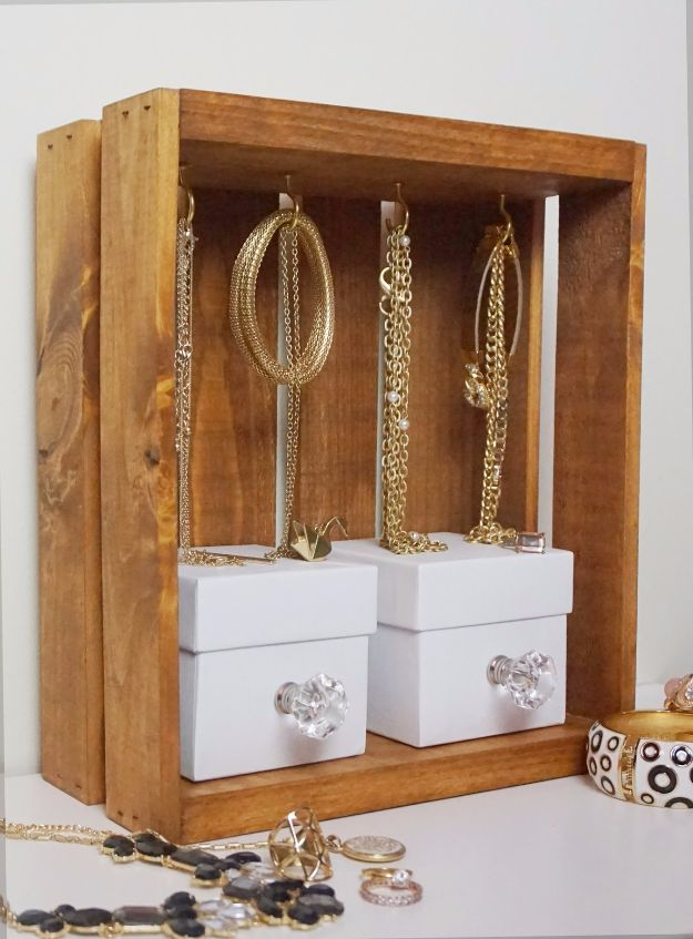 DIY Jewelry Storage - Jewelry Display Crate - Do It Yourself Crafts and Projects for Organizing, Storing and Displaying Jewelry - Earrings, Rings, Necklaces - Jewelry Tree, Boxes, Hangers - Cheap and Easy Ways To Organize Jewelry in Bedroom and Bathroom - Dollar Store Crafts and Cheap Ideas for Decorating