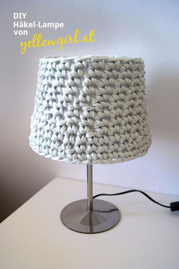 Easy Crafts for Teens - Knotted Lampshade with Old T-Shirt - Cheap and Easy DIY Projects for Teenagers - Learn Basic Craft Techniques and Tutorials for Learning The Basics for Do It Yourself Projects and Fun Crafts - Easy Step by Step Tutorials for Making Pom Poms, Using a Glue Gun, Painting How To and More - Cool Ideas for Teens, Teenagers and Adults - Cheap Arts and Crafts Ideas and Tips http://diyprojectsforteens.com/diy-skills-tutorials