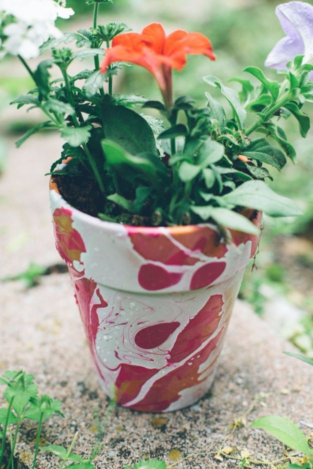 Best DIY Ideas for Teens To Make This Summer - Nail Polish Marbled Planter - Fun and Easy Crafts, Room Decor, Toys and Craft Projects to Make And Sell - Cool Gifts for Friends, Awesome Things To Do When You Are Bored - Teenagers - Boys and Girls Love Making These Creative Projects With Step by Step Tutorials and Instructions http://diyprojectsforteens.com/best-ideas-teens-summer