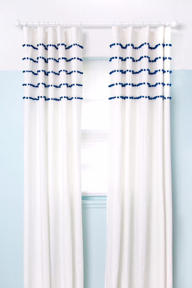 Best DIY Room Decor Ideas for Teens and Teenagers - Pleated Pom Pom Curtains - Best Cool Crafts, Bedroom Accessories, Lighting, Wall Art, Creative Arts and Crafts Projects, Rugs, Pillows, Curtains, Lamps and Lights - Easy and Cheap Do It Yourself Ideas for Teen Bedrooms and Play Rooms #teencrafts #diydecor #roomideas #teenrooms #teendecor #diyideas