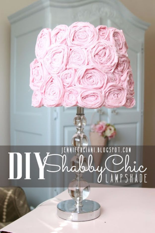 Best DIY Room Decor Ideas for Teens and Teenagers - Shabby Chic Lamp Shade - Best Cool Crafts, Bedroom Accessories, Lighting, Wall Art, Creative Arts and Crafts Projects, Rugs, Pillows, Curtains, Lamps and Lights - Easy and Cheap Do It Yourself Ideas for Teen Bedrooms and Play Rooms #teencrafts #diydecor #roomideas #teenrooms #teendecor #diyideas