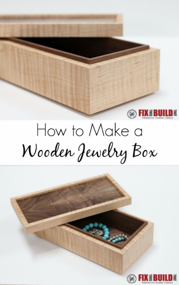 DIY Jewelry Storage - Simple Wooden Jewelry Box - Do It Yourself Crafts and Projects for Organizing, Storing and Displaying Jewelry - Earrings, Rings, Necklaces - Jewelry Tree, Boxes, Hangers - Cheap and Easy Ways To Organize Jewelry in Bedroom and Bathroom - Dollar Store Crafts and Cheap Ideas for Decorating