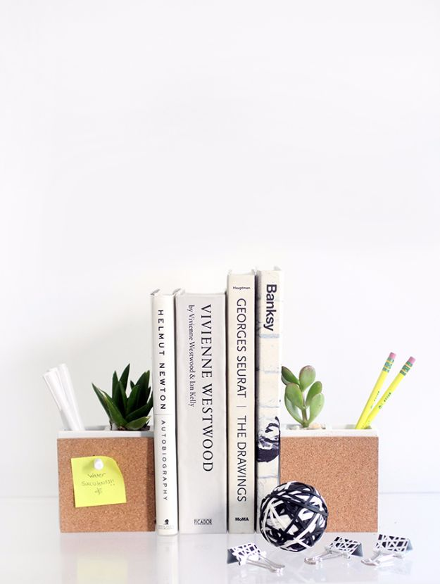 Easy Crafts for Teens - Succulent And Supply Holder Bookends - Cheap and Easy DIY Projects for Teenagers - Learn Basic Craft Techniques and Tutorials for Learning The Basics for Do It Yourself Projects and Fun Crafts - Easy Step by Step Tutorials for Making Pom Poms, Using a Glue Gun, Painting How To and More - Cool Ideas for Teens, Teenagers and Adults - Cheap Arts and Crafts Ideas and Tips