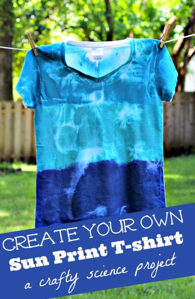 Best DIY Ideas for Teens To Make This Summer - Sun Print Shirts - Fun and Easy Crafts, Room Decor, Toys and Craft Projects to Make And Sell - Cool Gifts for Friends, Awesome Things To Do When You Are Bored - Teenagers - Boys and Girls Love Making These Creative Projects With Step by Step Tutorials and Instructions #diyideas #summer #teencrafts #crafts