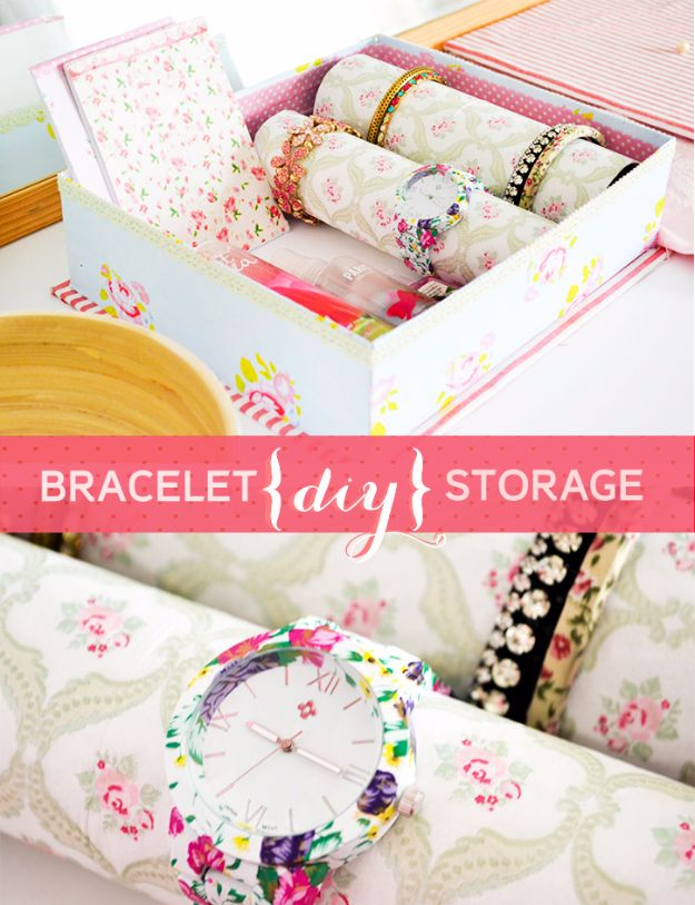 DIY Jewelry Storage - Super Pretty Bracelet And Watch Storage - Do It Yourself Crafts and Projects for Organizing, Storing and Displaying Jewelry - Earrings, Rings, Necklaces - Jewelry Tree, Boxes, Hangers - Cheap and Easy Ways To Organize Jewelry in Bedroom and Bathroom - Dollar Store Crafts and Cheap Ideas for Decorating http://diyprojectsforteens.com/diy-jewelry-storage