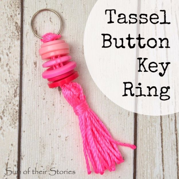 Best DIY Ideas for Teens To Make This Summer - Tassel Button Key Ring - Fun and Easy Crafts, Room Decor, Toys and Craft Projects to Make And Sell - Cool Gifts for Friends, Awesome Things To Do When You Are Bored - Teenagers - Boys and Girls Love Making These Creative Projects With Step by Step Tutorials and Instructions #diyideas #summer #teencrafts #crafts