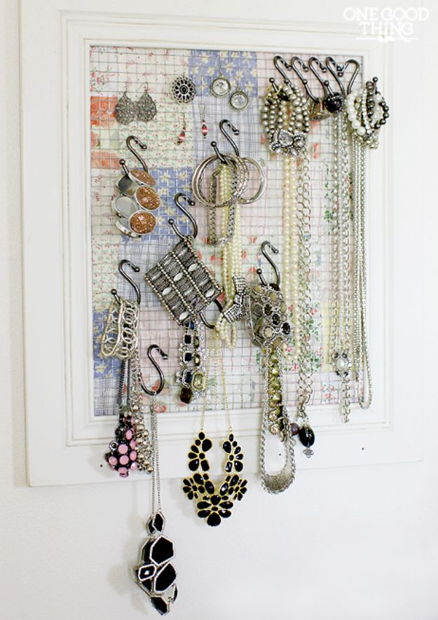 DIY Jewelry Storage - Thread Rack Jewelry Organizer - Do It Yourself Crafts and Projects for Organizing, Storing and Displaying Jewelry - Earrings, Rings, Necklaces - Jewelry Tree, Boxes, Hangers - Cheap and Easy Ways To Organize Jewelry in Bedroom and Bathroom - Dollar Store Crafts and Cheap Ideas for Decorating