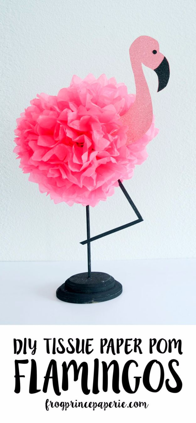 Best DIY Room Decor Ideas for Teens and Teenagers - Tissue Pouf Flamingo - Best Cool Crafts, Bedroom Accessories, Lighting, Wall Art, Creative Arts and Crafts Projects, Rugs, Pillows, Curtains, Lamps and Lights - Easy and Cheap Do It Yourself Ideas for Teen Bedrooms and Play Rooms #teencrafts #diydecor #roomideas #teenrooms #teendecor #diyideas