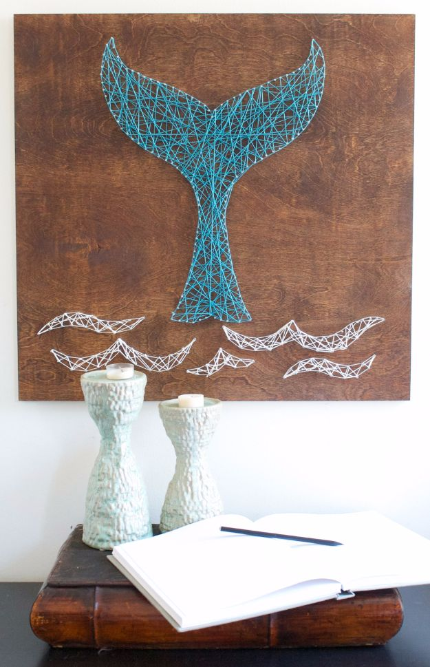 Best DIY Room Decor Ideas for Teens and Teenagers - Whale Tail String Art - Best Cool Crafts, Bedroom Accessories, Lighting, Wall Art, Creative Arts and Crafts Projects, Rugs, Pillows, Curtains, Lamps and Lights - Easy and Cheap Do It Yourself Ideas for Teen Bedrooms and Play Rooms #teencrafts #diydecor #roomideas #teenrooms #teendecor #diyideas
