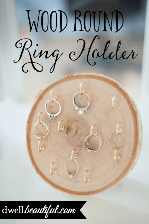 DIY Jewelry Storage - Wood Round Ring Holder - Do It Yourself Crafts and Projects for Organizing, Storing and Displaying Jewelry - Earrings, Rings, Necklaces - Jewelry Tree, Boxes, Hangers - Cheap and Easy Ways To Organize Jewelry in Bedroom and Bathroom - Dollar Store Crafts and Cheap Ideas for Decorating