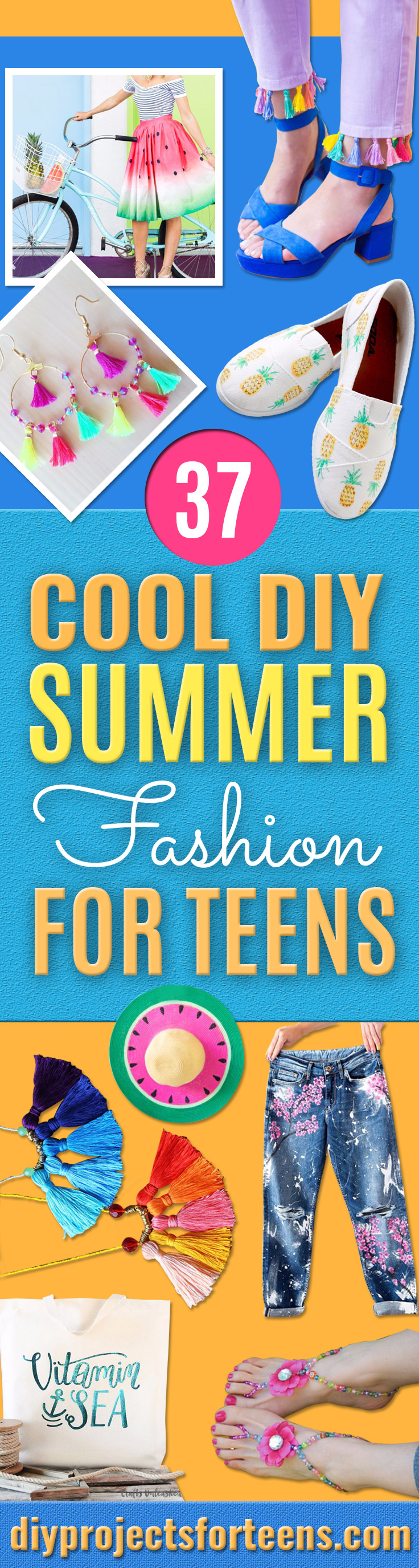 Cool Summer Fashions for Teens - Easy Sewing Projects and No Sew Crafts for Fun Fashion for Teenagers - DIY Clothes, Shoes and Accessories for Summertime Looks - Cheap and Creative Ways to Dress on A Budget http://diyprojectsforteens.com/diy-summer-fashion-teens