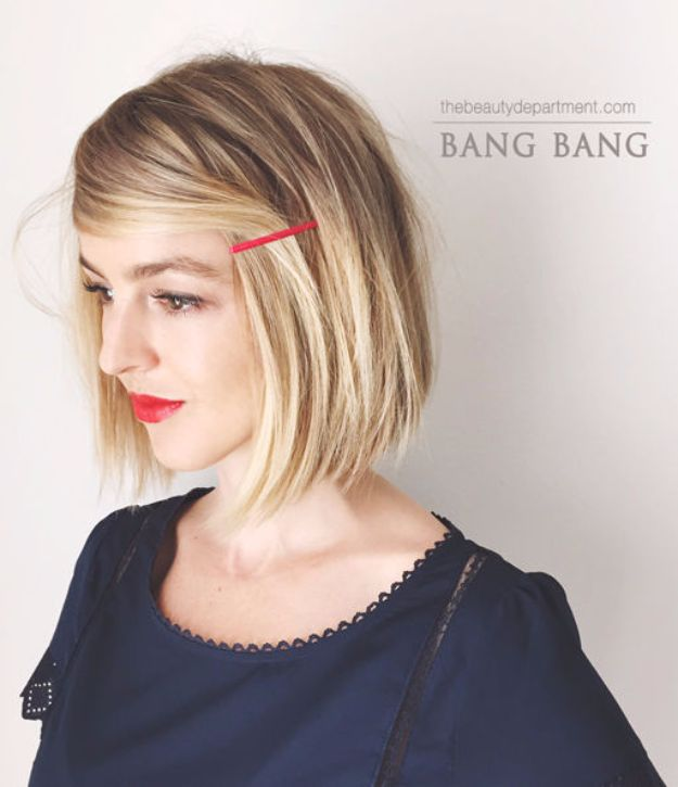 Cool Hair Tutorials for Summer - Bang Bang Hairstyle - Easy Hairstyles and Creative Looks for Hair - Beachy Waves, Hair Styles for Short Hair, Medium Length and Long Hair - Ponytails, Updo Ideas and Quick Last Minute Hairstyle for Teens, Teenagers and Women http://diyprojectsforteens.com/cool-hairstyles-summer