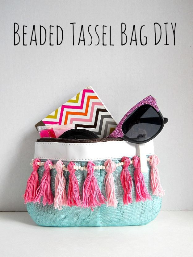 DIY Bags for Summer - Beaded Tassel Bag DIY - Easy Ideas to Make for Beach and Pool - Quick Projects for a Bag on A Budget - Cute No Sew Idea, Quick Sewing Patterns - Paint and Crafts for Making Creative Beach Bags - Fun Tutorials for Kids, Teens, Teenagers, Girls and Adults