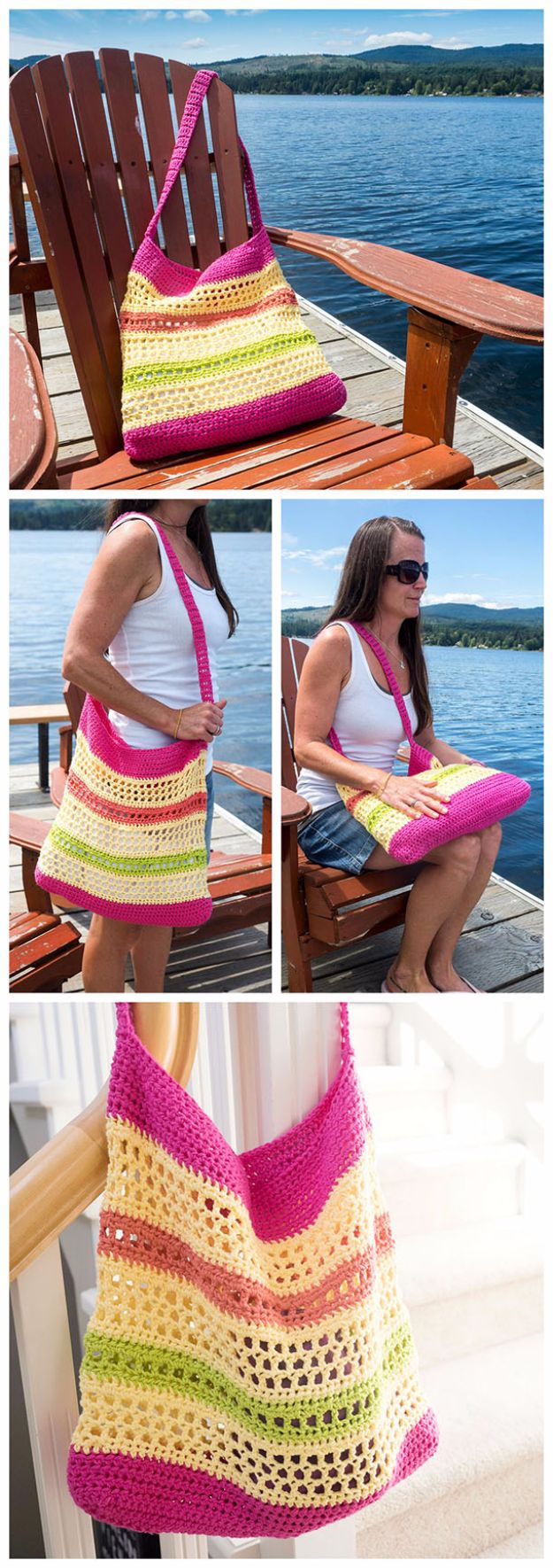DIY Bags for Summer - Crochet Beach Tote Bag - Easy Ideas to Make for Beach and Pool - Quick Projects for a Bag on A Budget - Cute No Sew Idea, Quick Sewing Patterns - Paint and Crafts for Making Creative Beach Bags - Fun Tutorials for Kids, Teens, Teenagers, Girls and Adults