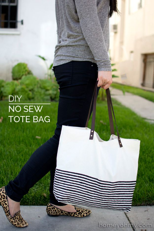 DIY Bags for Summer - DIY No Sew Tote Bag - Easy Ideas to Make for Beach and Pool - Quick Projects for a Bag on A Budget - Cute No Sew Idea, Quick Sewing Patterns - Paint and Crafts for Making Creative Beach Bags - Fun Tutorials for Kids, Teens, Teenagers, Girls and Adults