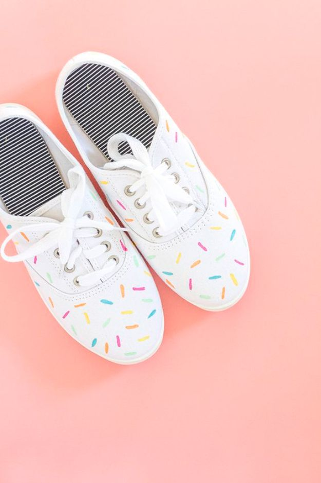 Cool Summer Fashions for Teens - DIY Painted Ice Cream Sprinkles Shoes - Easy Sewing Projects and No Sew Crafts for Fun Fashion for Teenagers - DIY Clothes, Shoes and Accessories for Summertime Looks - Cheap and Creative Ways to Dress on A Budget http://diyprojectsforteens.com/diy-summer-fashion-teens