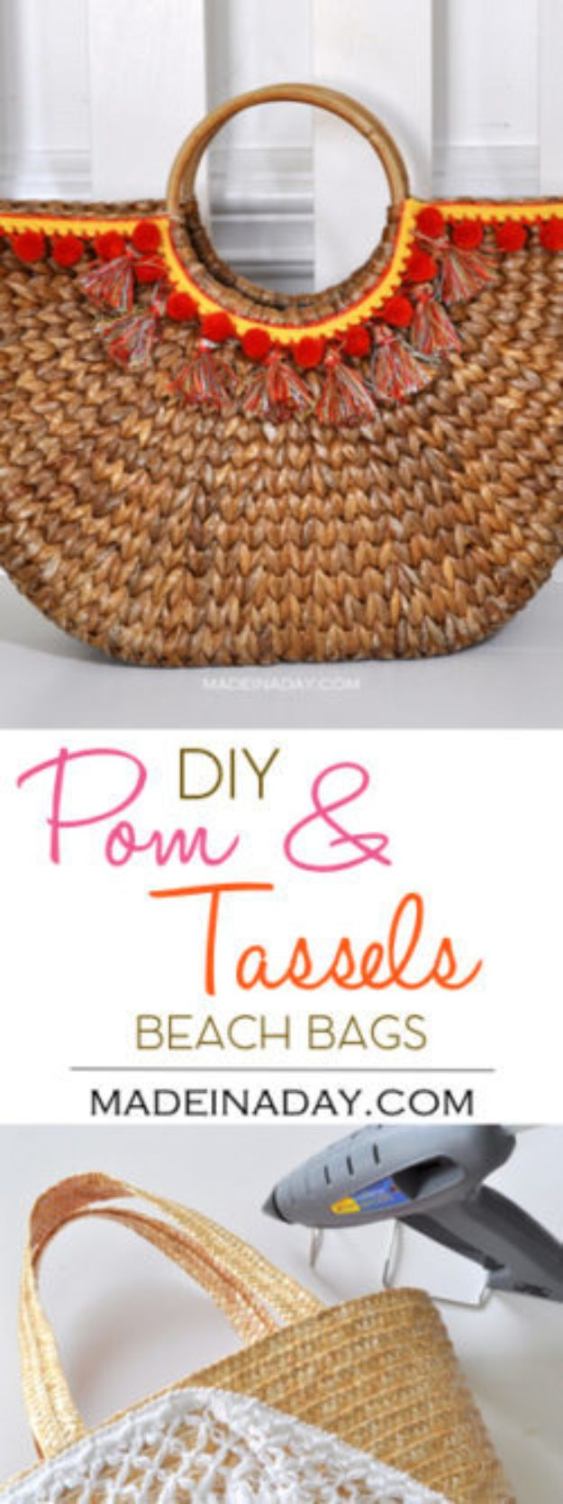 DIY Bags for Summer - DIY Pom And Tassels Beach Bags - Easy Ideas to Make for Beach and Pool - Quick Projects for a Bag on A Budget - Cute No Sew Idea, Quick Sewing Patterns - Paint and Crafts for Making Creative Beach Bags - Fun Tutorials for Kids, Teens, Teenagers, Girls and Adults