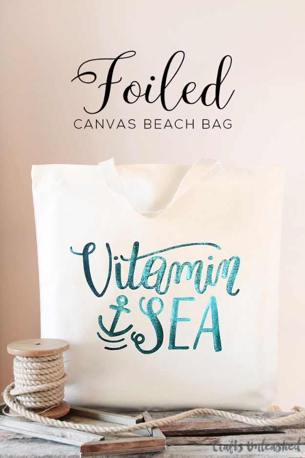 DIY Bags for Summer - Foiled Canvas DIY Beach Bag - Easy Ideas to Make for Beach and Pool - Quick Projects for a Bag on A Budget - Cute No Sew Idea, Quick Sewing Patterns - Paint and Crafts for Making Creative Beach Bags - Fun Tutorials for Kids, Teens, Teenagers, Girls and Adults http://diyprojectsforteens.com/diy-bags-summer